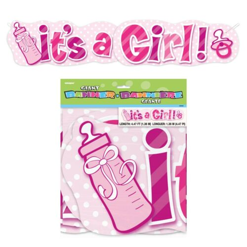 GIANT /'IT/'S A GIRL/' BANNER Baby Shower Girl Pink New Baby Party Decorations