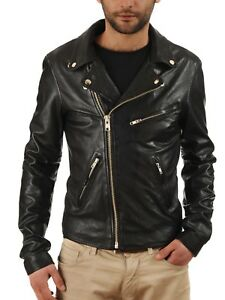Black-Leather-Jacket-Mens-Biker-Motorcycle-Lambskin-Size-S-M-L-XL-XXL-Custom-Fit