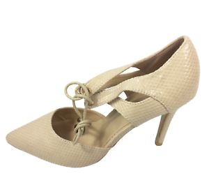 Womens Ladies Beige Faux Leather High Heel Party Court Shoes Size UK 5 New
