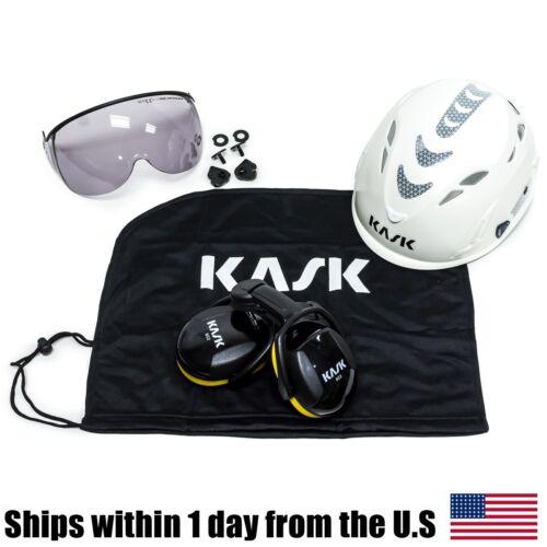 Kask Arborist Tree Climbing Hi-Viz White Super Plasma Helmet Visor Bag Ear Muffs