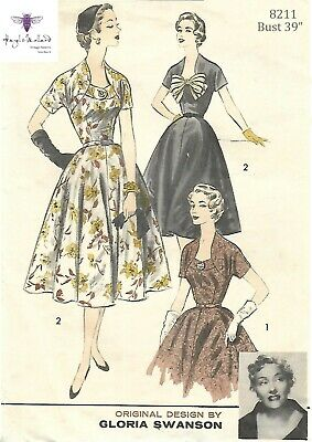 """Vintage década de 1950 Sewing Pattern Rockabilly Pussy Bow Blouse Busto 32/"""""""