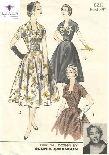 """Vintage década de 1950 Gloria Swanson Círculo Vestido de patrón de costura arco Busto 39/"""""""