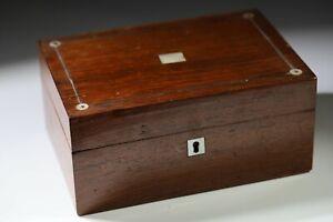 Antique-Wooden-Veneer-MOP-Mother-Of-Pearl-Inlay-Escutcheon-Trinket-Box