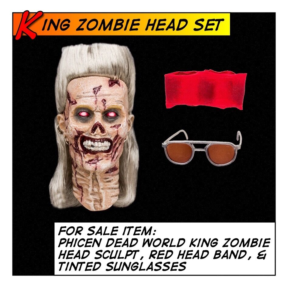 Phicen King Zombie Head Sculpt & verres Set Fit 1 6 12 in (environ 30.48 cm) figure masculine