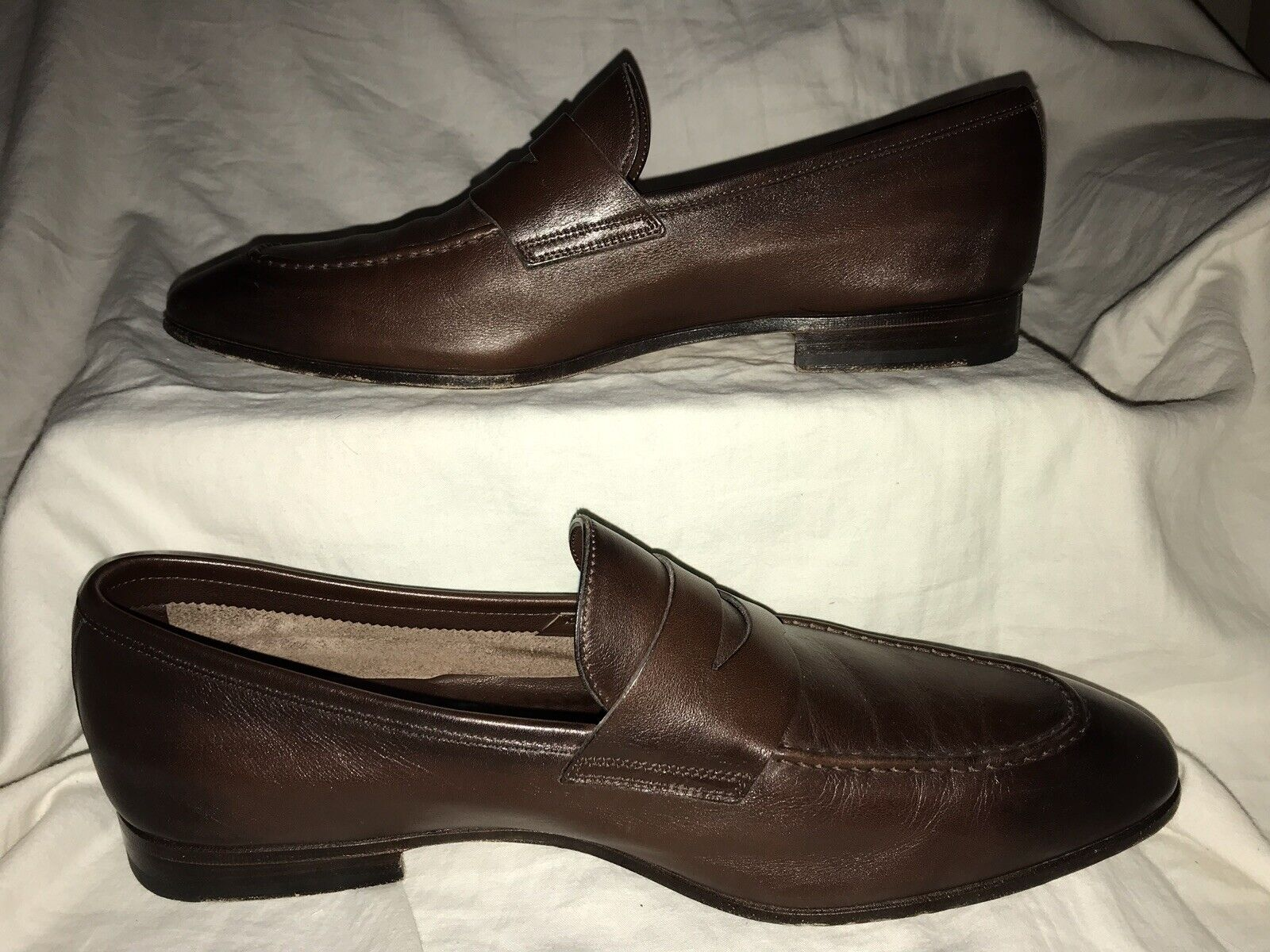 Santoni Penny Loafer marrón Leather Men Talla 10.5()  11.5 D(US)Made In