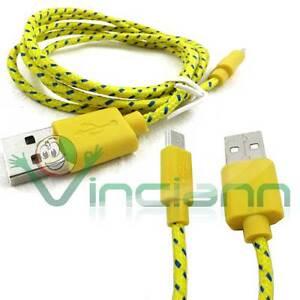 Cavo-dati-Tessuto-Nylon-GIALLO-per-Samsung-Galaxy-S4-Mini-i9195-cavetto-USB