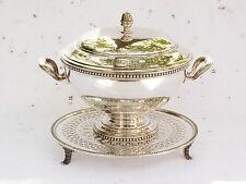 Soupière ERCUIS avec présentoir en métal argenté décor perles ref 486