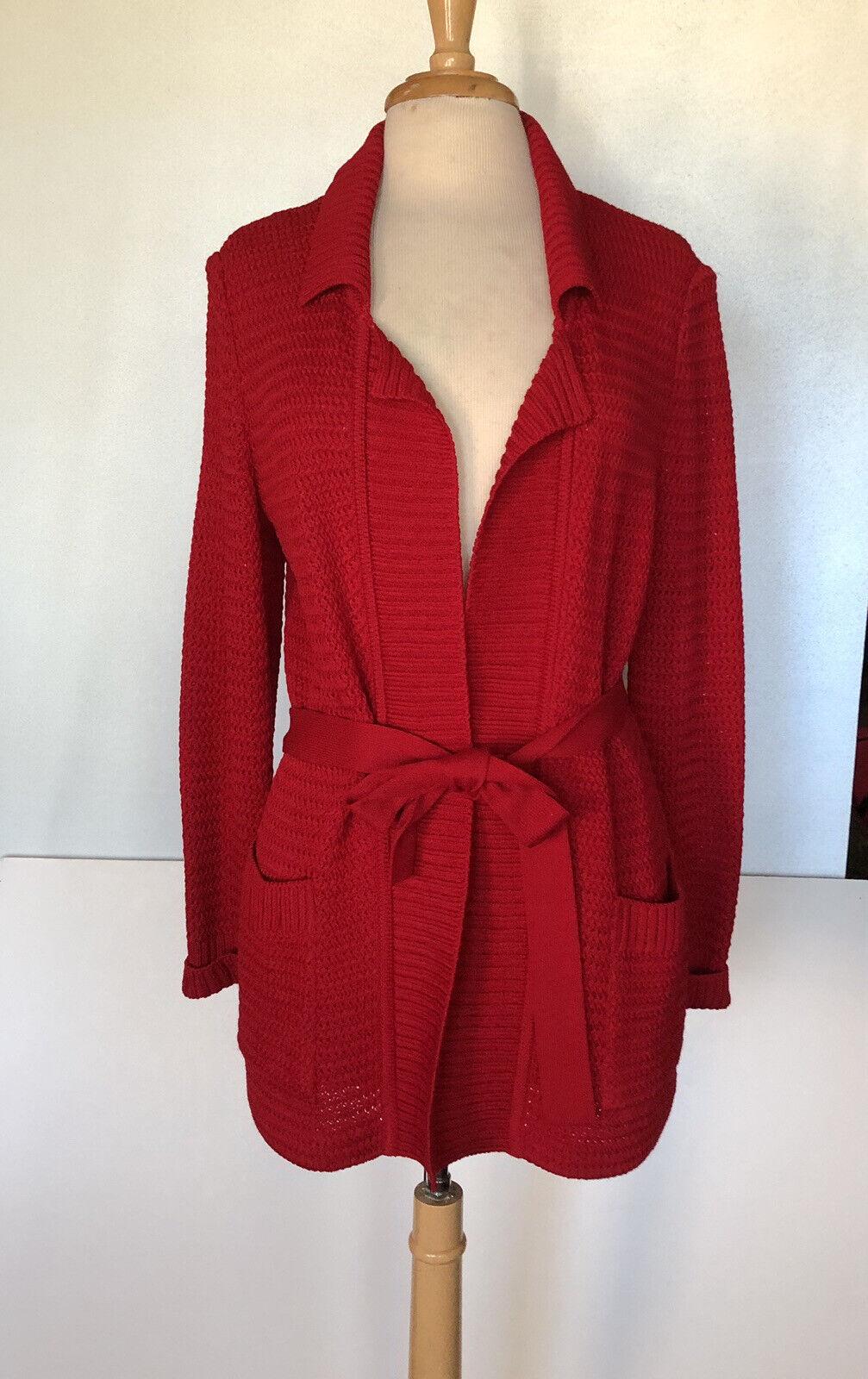 Vintage St John Red Cardigan Belted Santana Knit … - image 1
