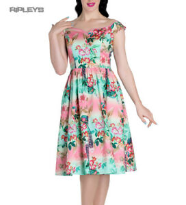 Hell-Bunny-Pinup-50s-Dress-PEACOCK-Flowers-Pink-Green-All-Sizes