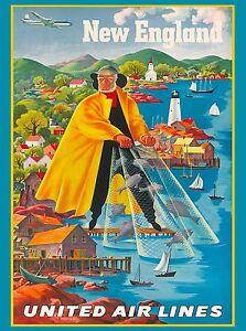 New England Nantucket Martha S Vintage U S Travel Advertisement Art Poster Ebay