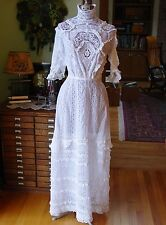 Exquisite Antique Victorian Dress Hand Made Lace Irish Torchon, Excellent Cond.