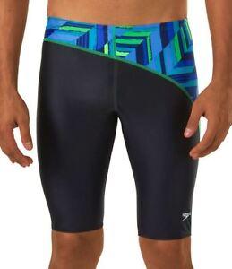 29f2ecc9b2e3 SPEEDO Swim Angles Jammer Endurance + Male Shorts Black Blue Green ...