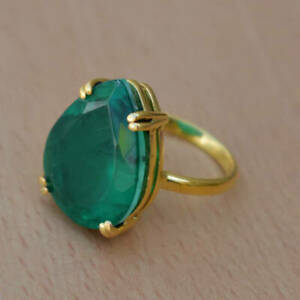 925-Sterling-Silver-Natural-Colombian-Emerald-Oval-Pear-Gold-Fill-Ring-Gift