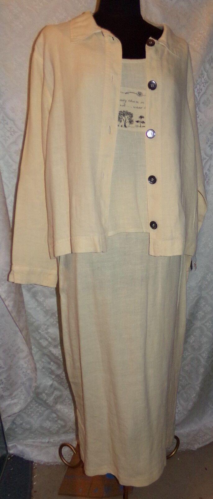 Garron M Pale Yellow Linen 3 Pc Womens Outfit Suit Skirt Sleeveless Top