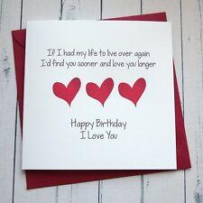 Item 8 BIRTHDAY CARD WIFE HUSBAND GIRLFRIEND BOYFRIEND PARTNER Romantic Card LOVE