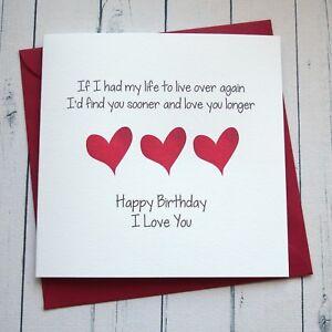 Image Is Loading BIRTHDAY CARD WIFE HUSBAND GIRLFRIEND BOYFRIEND PARTNER Romantic
