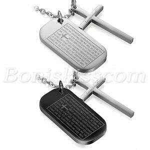 Mens military army stainless dog tag bible cross pendant necklace image is loading men 039 s military army stainless dog tag aloadofball
