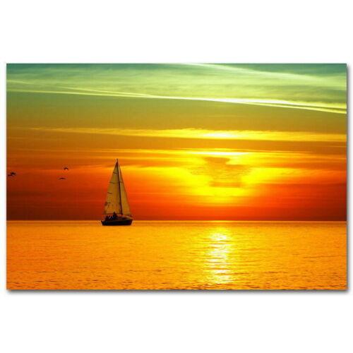64361 Sunset Beautiful Sunset Sail Boats Landscape Wall Print POSTER CA