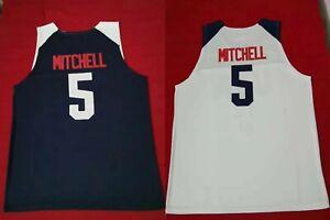 2019-China-Donovan-Mitchell-5-National-Team-Basketball-Jerseys-Sewn-White-Blue
