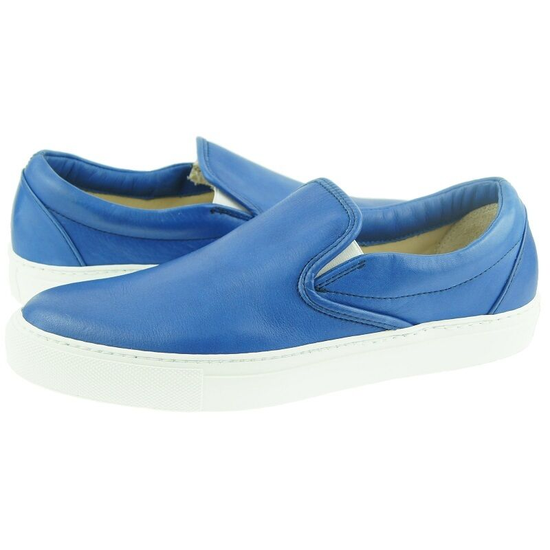 Daniele Lepori Slip-on Leather Sneakers, Men's Casual shoes, Made in , bluee