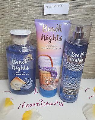 bath and body works beach nights summer marshmallow shower gel cream mist set