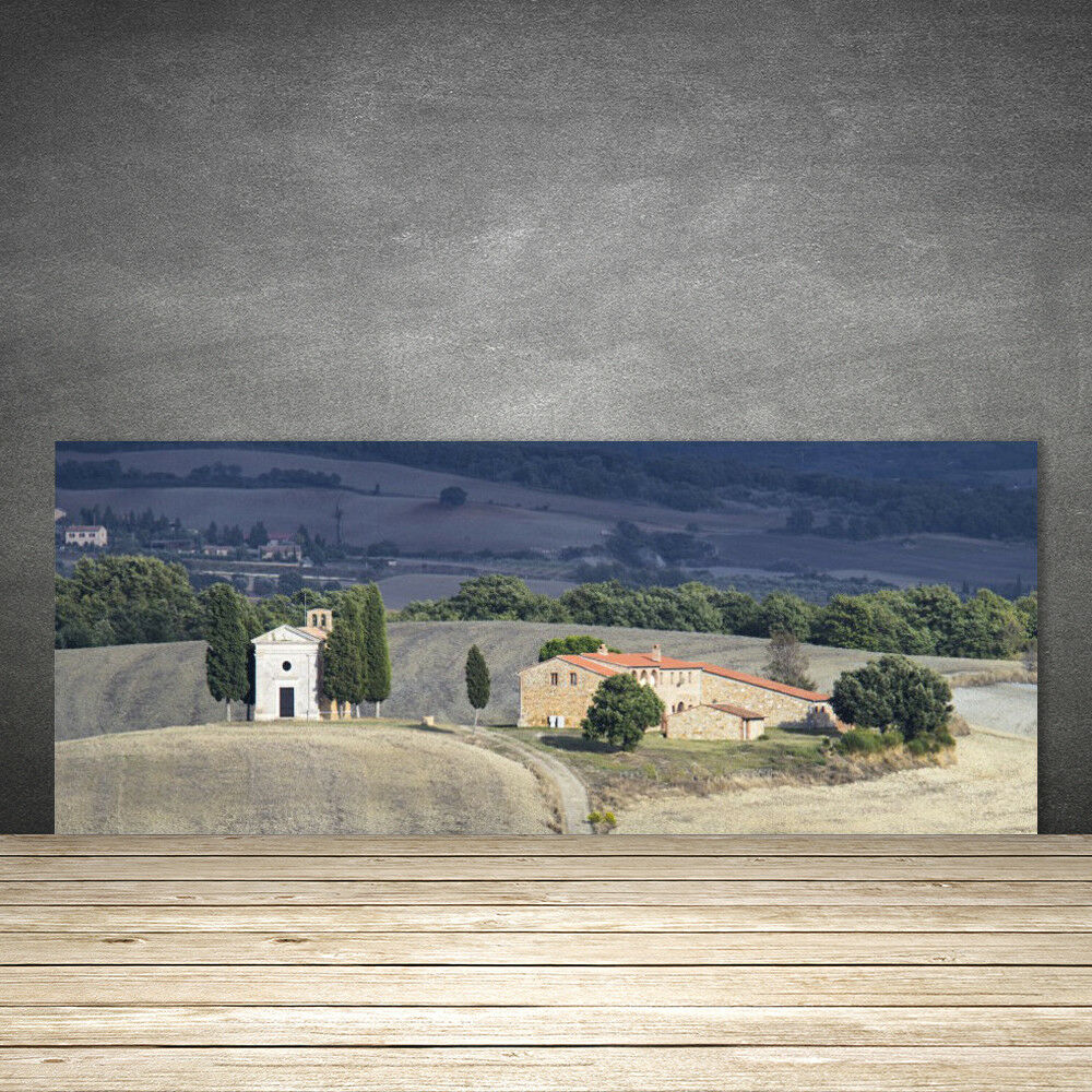 Crédence de cuisine en verre Panneau 125x50 Paysage Prairie Arbres