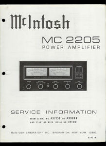 rare original factory mcintosh mc 2205 stereo power amp amplifier service manual ebay. Black Bedroom Furniture Sets. Home Design Ideas