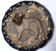 "Mexican Folk Art Amatenango Chiapas Clay Pottery Hand Painted Jaguar Plate 9"""