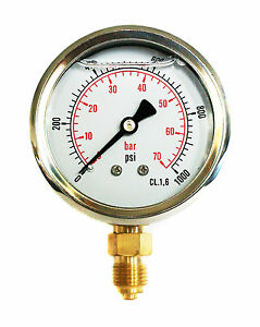 Hydraulic Pressure Gauge Glycerine Filled 0/1000 PSI 0/70 Bar 63mm Dial 1/4 BSP