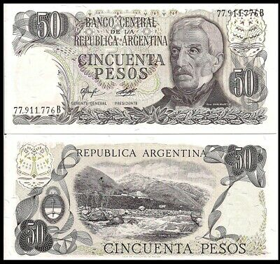 Argentina P-301b 50 Pesos Year 1976-1978 Uncirculated Banknote