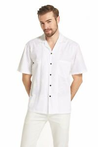 Made-in-Hawaii-Men-Aloha-Shirt-Luau-Cruise-Party-Wedding-White-Pam-Imprint