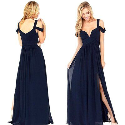 Women Chiffon Bridesmaid Formal Gown Ball Party Cocktail Evening Prom Long Dress