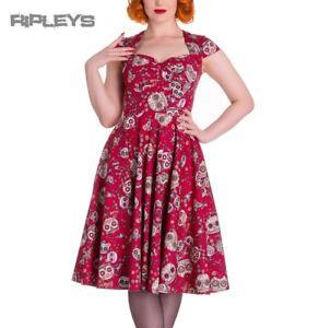 HELL-BUNNY-Pinup-50s-Dress-SASHA-Love-Skull-Sugar-Red-All-Sizes