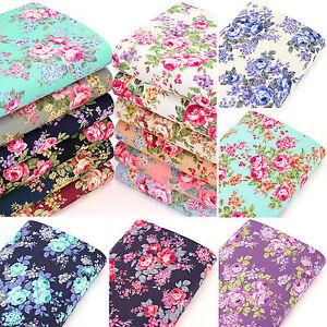 Cotton-Fabric-FQ-Rose-Flower-Bouquet-Shabby-Vintage-Retro-Chic-Floral-Dress-VK87