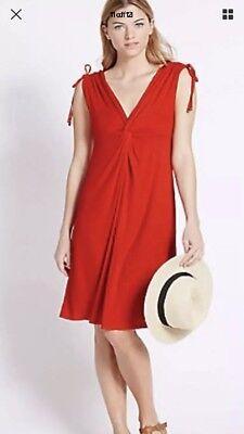 BNWT M/&S Red Beachwear Knot Front Sleeveless Beach Dress Size 20