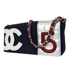 Auth CHANEL CC No.5 Chain Shoulder Bag Canvas Leather Navy Blue Vintage 89W116