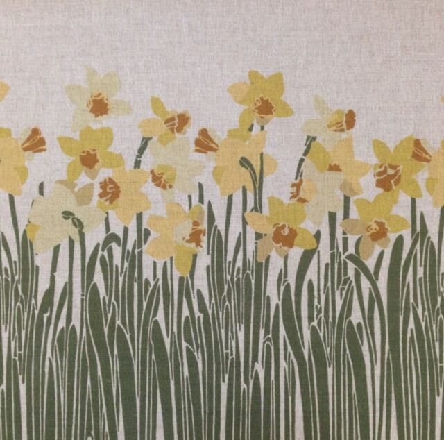 TEX EX ORIGINAL CYMRU DAFFODIL CUSHION PANEL LINEN FLORAL WALES WELSH FLOWERS