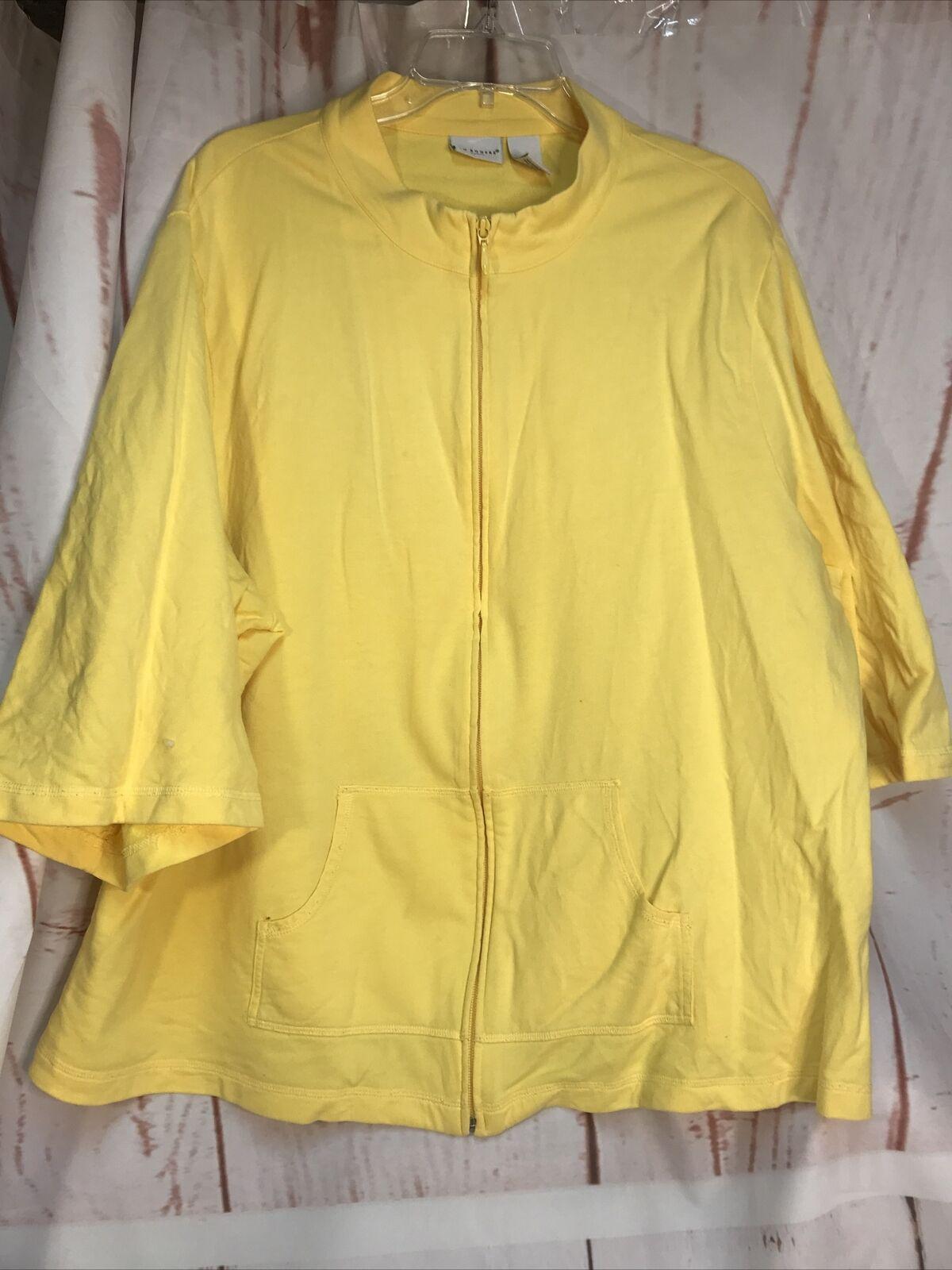 WOMAN 3 X FULL ZIP JACKET Yellow 3/4 Sleeve Kim Rogers Hand Warmer Pockets