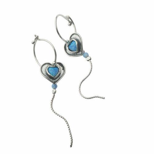 Handmade Amazing 925 Sterling Silver Earrings Opal Blue Didae Shablool