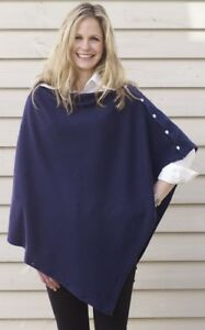 CASHMERE-Button-PONCHO-NAVY-BLUE-Wrap-One-Size-Fits-All-Buttoned-PONCHO-Buton