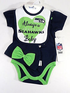 e4d64b1a Details about Seattle Seahawks 3 Pc Set One Pc Bib Cap Seahawks Baby Outfit  NWT