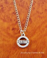 Silver Diabetic Medical Charm Pendant Necklace W/ Stainless Steel Chain
