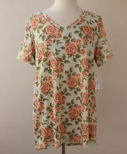 7fe31a3b7 Medium LuLaRoe Top Christy V-neck Tee Digital Mosaic Roses Green ...