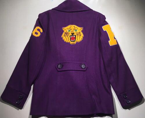"""Purple """"P"""" Coat /Peacoat Varsity Jacket Chenille:"""