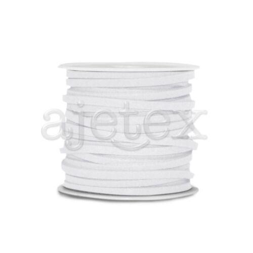 5M//Roll Faux Suede Strings Fil Corde Bijoux Bracelet Création 3mmx1.5mm Blanc