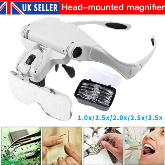 UK Lightweight Magnifier Head Light 2 LED Adjustable Magnifying Glass with 5 Len