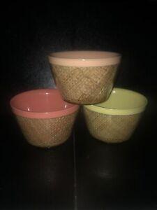 Three-Vintage-Burlap-RAFFIAWARE-Dessert-Cereal-Bowls-Peach-Yellow-Pink-Melmac