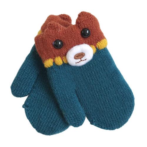 Winter Warm Baby Boy Girls Kids Knitted Woolen Thick Gloves Neck String Mittens