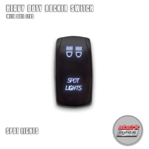 WHITE Laser Etched LED Rocker Switch Dual Light 20A 12V ON SPOT LIGHTS OFF