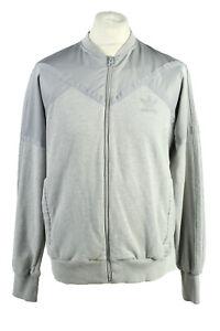 De-Coleccion-Adidas-Para-Hombre-Full-Zip-Chandal-Top-tres-rayas-Tamano-L-GRIS-SW2504